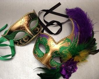 Purple Green Carnival Dres up Mardi Gras Masquerade ball mask