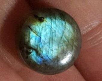 Labradoite natural plain round shape cabochon -14.5mm x 5.5mm - STK-21-LBDL-09