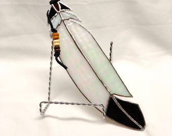 Iridescent eagle feather stained glass suncatcher - feather collection - stained glass - Native American, bird feather, glass art