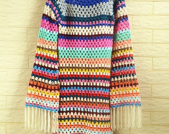 Granny Square Crochet Dress with Fringe Striped Sweater Women Boho Clothing