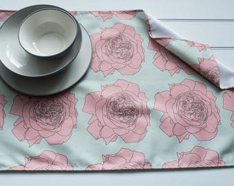 Tea Towel Made from 100% Cotton in Rose Pink Pattern
