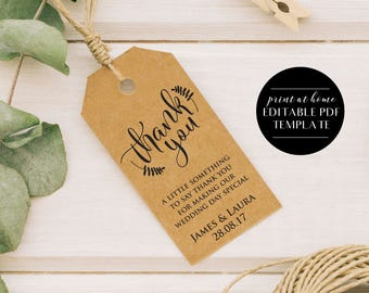 Printable Wedding Thank You Tags, INSTANT DOWNLOAD, Editable Favour Tags, Wedding Template, Wedding Invite, Wedding Printable, Editable PDF
