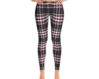 Claudius Red, Plaid Leggings, Holiday Leggings, Christmas Leggings, Red Plaid, Christmas Red Leggings, Christmas Yoga Pants, Holiday, Comfy