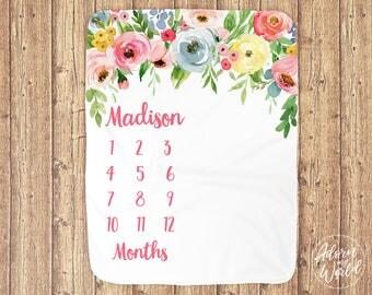 Monthly Milestone Blanket, Milestone Blanket Girl, Custom, Personalized Milestone Blanket, Baby Shower Gift, New Baby Gift, Baby Girl Gift