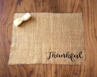 Rustic Burlap Table Decor, Burlap Placemats, Farmhouse Placemats, Thankful, Grateful, Blessed, Place Mats, Rustic Placemats, Set of 2