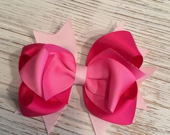Pink Valentine hair bow, Valentine hairbow, Valentine hair clip, Pink hair bow, Pink hairbow, Pink hair clip, Hot pink hair bow