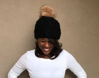 Chunky Knit Hat with Fur Pom