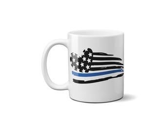 Thin Blue Line American Flag Heart Coffee Mug , Police Officer Gift, Law Enforcement, Coffee Mug, America Flag