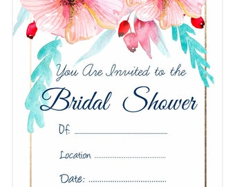 Bridal shower invitation - Tropical floral print
