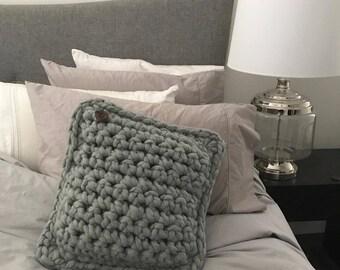 Large Grey Merino Wool Crochet Cushion