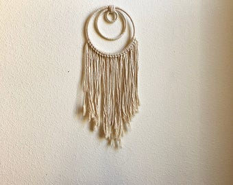 Small Macrame Wall Hanging Dreamcatcher with 3 Woven Hoops and Fringe, Woven Wall Hanging, Dream Catcher, Tapestry, Hippie Boho Wall Hanging