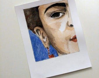 Bookmark in watercolor with portrait of Frida Kahlo _ Frida Kahlo's Bookmark _ format polaroid _ Gift Ideas