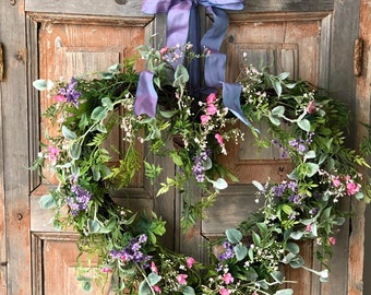 Valentines Day Wreath - The Presley pink and lavender heart shaped wreath/spring wreath/Easter wreath/wedding wreath/front door wreath