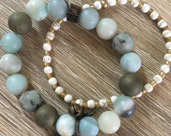 Amazonite with antique brass charms and white and gold companion bracelets