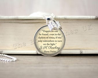 Harry Potter, 'Happiness Can Be Found' Albus Dumbledore Quote Necklace, Key ring, Keychain, Harry Potter Quote Jewelry