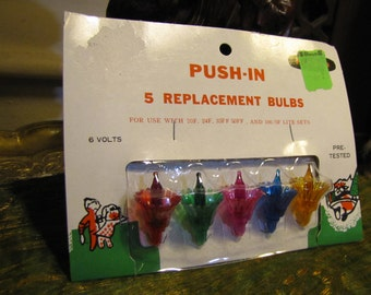 NOS Vintage Christmas Light Decorative Replacements Bulbs w Original Package! Push-in Flower Reflectors circa 1960s