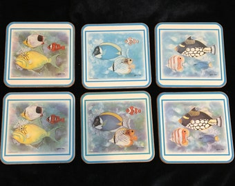 Pimpernel Tropical Fish Coasters - Set of 6 - Made in England - Artist: Maria Ryan