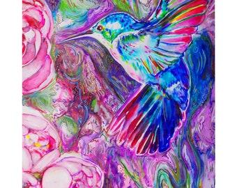 """Humming bird - original watercolor 11x16"""" original -print"""