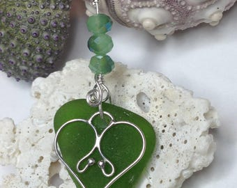 Sea Glass Pendant, Sea Glass Jewelry, Sea Glass, Beach Sea Glass, Sea Glass Necklace, Heart Theme Jewelry, Heart Jewelry, Silver Heart