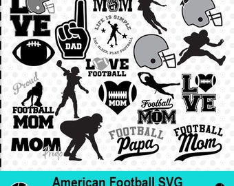 American Football SVG, American Football Silhouette, Football Clipart, Sport SVG, Sport Scrapbook, Vector Files, dxf Files, MSD-014