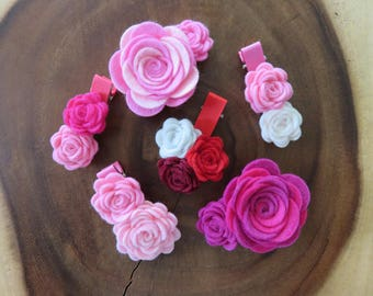 Pinks and Red Felt Flower Hair Clips