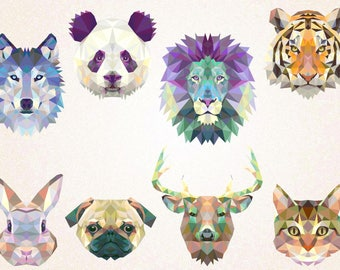 Triangle Animals Clipart/Geometrical Animals SVG,PNG 300 ppi,eps/Minimalist/Animals Design/Animal Tattoo printable/Lion/Wolf/Panda/Dog/Deer