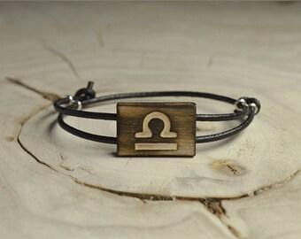 Bracelet Bois Récupéré, Cuir et Argent - Signe Astrologique Balance