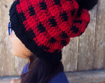 Crochet-Rustic-Buffalo-Plaid-Beanie-hat-pom pom-gift-christmas-winter-slouchy