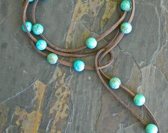 Turquoise Wrap Lariat, Suede Necklace, Long Necklace, Boho Bohemian, Beaded gemstone Necklace, Wrap Choker Necklace, Wrap necklace