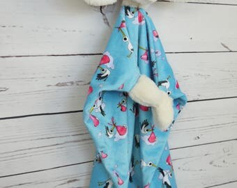 soft and fluffy animal lovey baby blanket-blue watercolor storks pattern-perfect baby shower gift-girl-infant-toddler-cuddly-huggable-pretty