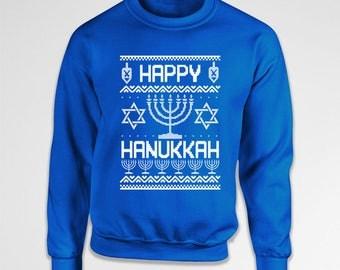 Ugly Holiday Sweater Happy Hanukkah Gifts Chanukah Holiday Sweatshirt Israel Clothes Holiday Presents Jewish Clothing Crewneck Hoodie TEP555