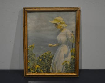 Framed Charles Curran Print of Woman in Hat
