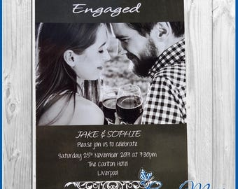 10  Engagement Party Invitation Cards Personalised Invites Black & White Design including Envelopes