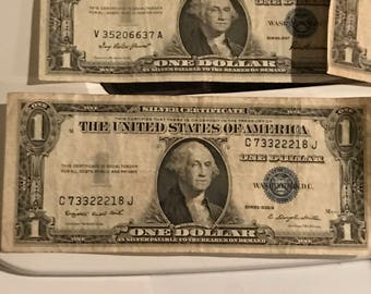 Silver backed United States Currency 1926, 1935, 1954