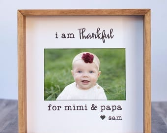 Gift for Grandparents From Kid To Grandparents Gift From Granddaughter Grandson Thanksgiving Gifts I Am Thankful Personalized Frame Gift