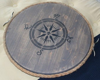 Nautical Serving Tray | compass serving tray | serving tray with handles | coastal decor
