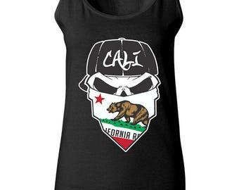 Skull California Republic Dead Head Cali Bear Women Tank Top Sleeveless Tops Best Seller Designed Women Tanks