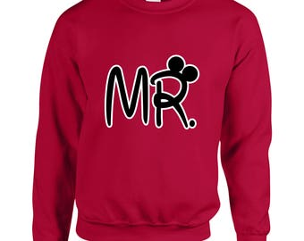 Mr. Mickey Mouse Ears  Couple Goals Clothing Adult Unisex Sweatshirt Printed Crew Neck Sweater for Women and Men