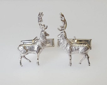 Gift for him Stag Cuff links in .925 Sterling Silver