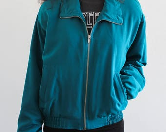 Teal Blue Nylon/ Polyester Windbreaker Vintage Ski Jacket Coat Small
