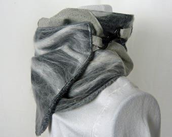Choker, gray scarf, neck warmer, scarf fur, grey neck, collar wool.