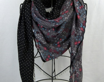 Large square scarf collection 180, large shawl, black, black, flower scarf grey scarf