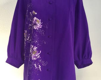 1980s Vintage Purple Embroidered Flower Top Womens Cardigan Oversized Loose Shirt Retro Blouse with Embroidered Flowers Eggplant Plum Purple