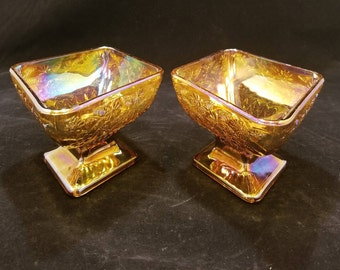 Vintage Set of 2 Carnival Glass Iridescent Amber Pedestal Nut/Candy Dishes by Indiana Glass Co