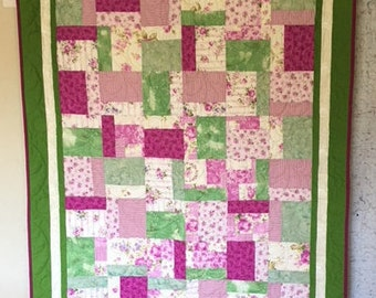 Springtime Pink/Green Quilt, Quilts for Sale, Quilts for Gifts, Handmade Quilts