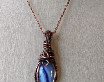 Purple banded agate stone pendant necklace copper wire wrapped