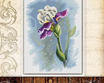 """PDF cross stitch pattern """"Iris"""""""