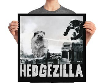 Hedgehog Poster: Hedgezilla Black and White Poster - Cutest Kaiju Protector of Tokyo Wall Art
