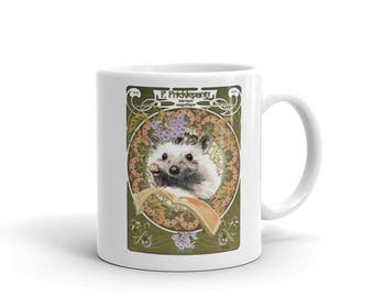 Delightful Hedgehog Art Nouveau Mug By Urchin Wear