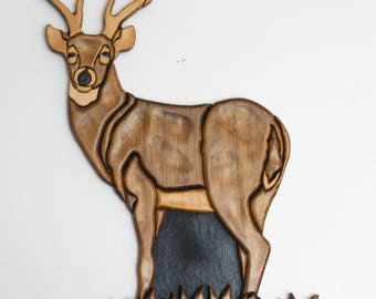 Intarsia Deer Buck Standing Wood Wall Hanging